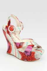 Alice + Olivia Multicolored Snakeprint Leather Wedge Sandals - Lyst