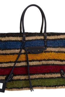 Balenciaga Royal Blue Basket L Raffia Multicolor - Lyst