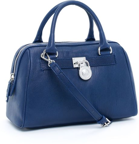 Michael Kors Medium Hamilton Satchel, Navy in Blue (navy) - Lyst