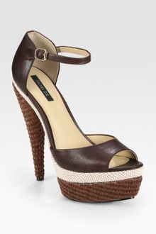 Rachel Zoe Bardot Raffia and Leather Platform Sandals - Lyst
