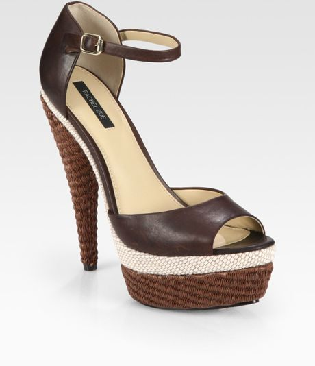 Rachel Zoe Bardot Raffia and Leather Platform Sandals in Brown - Lyst