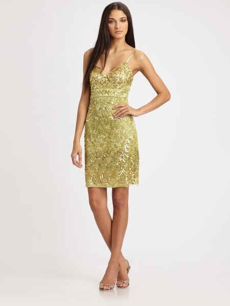 Sue Wong Sequined Dress in Green (celadon) - Lyst