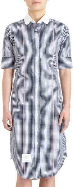 Thom Browne Gingham Dress in Blue (navy) - Lyst