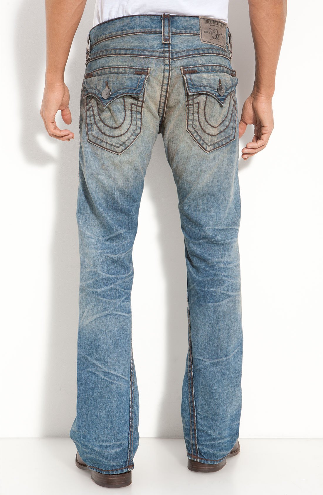 true religion joey flare jeans in blue for men locomotive. Black Bedroom Furniture Sets. Home Design Ideas