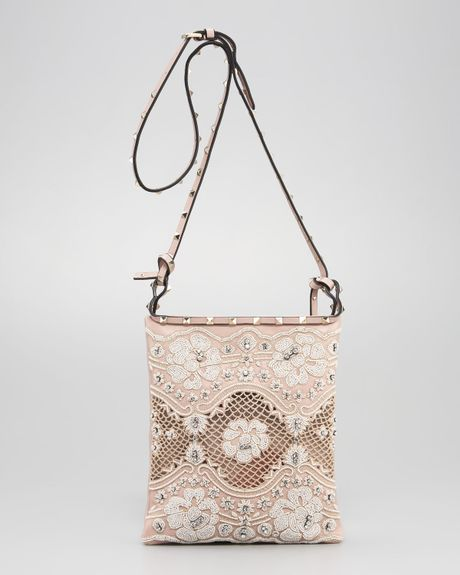 Valentino Rockstud Lace Crossbody Bag in Beige (poudre ivory)