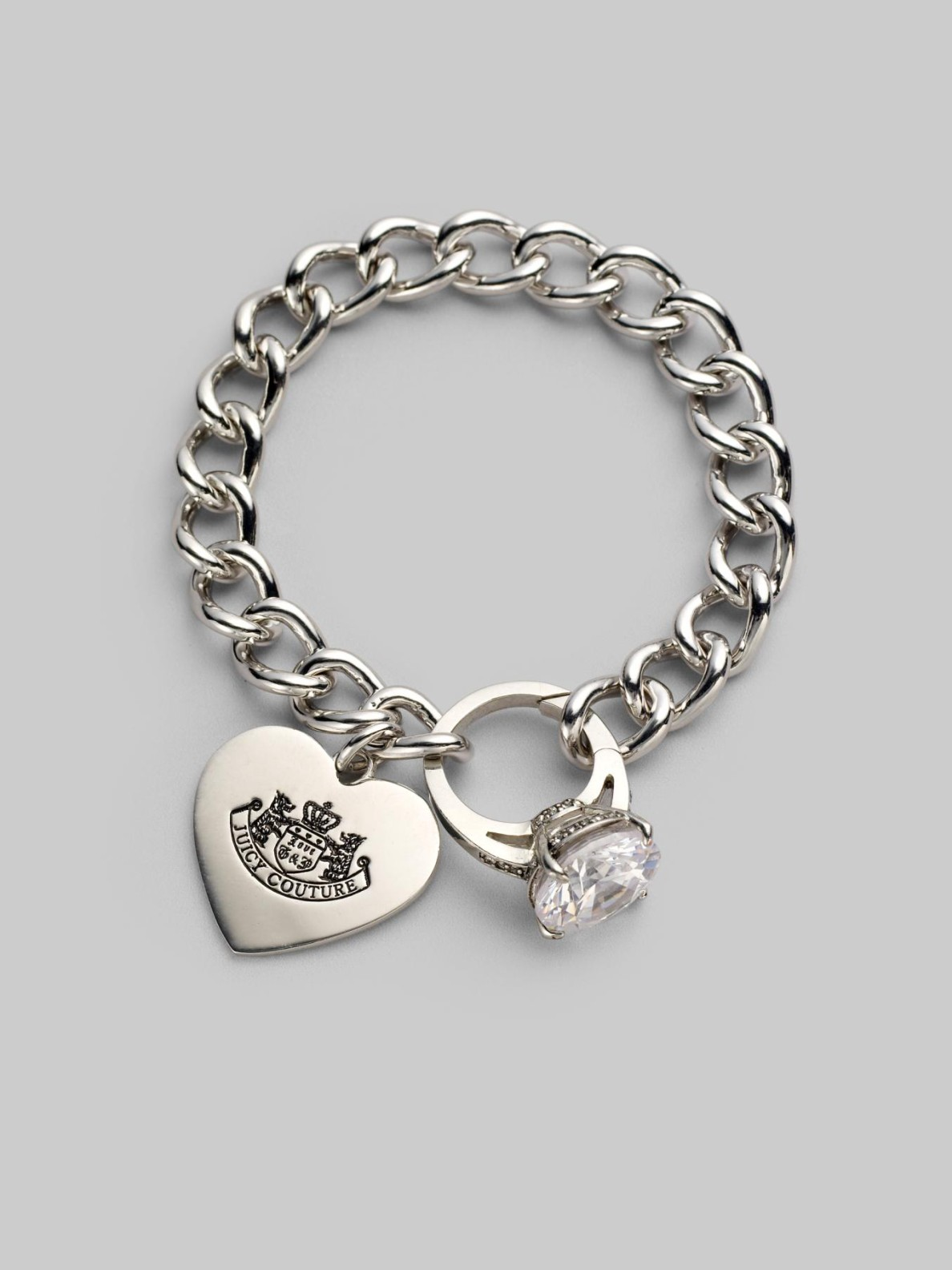 Juicy Couture Engagement Ring Charm Bracelet in Silver