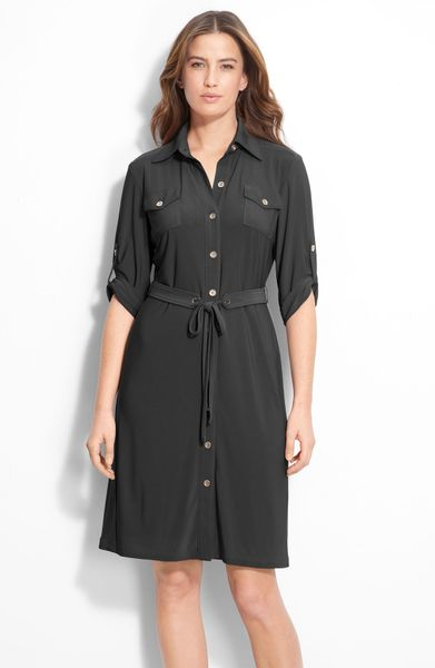 Tahari By Arthur S. Levine Matte Jersey Shirtdress in Black - Lyst