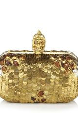 Alexander Mcqueen Sequin Skull Box Clutch in Gold - Lyst