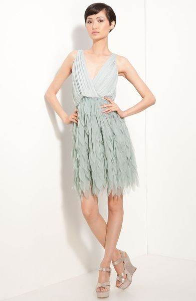 Alice + Olivia Tibby Petal Dress in Blue (dusty blue) - Lyst