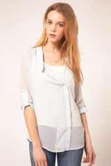 ASOS Collection Asos Blouse with Wrap and Dropped Collar - Lyst