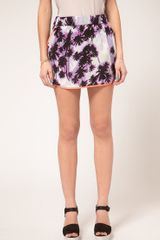 Asos Collection Asos Dolphin Hem Mini Skirt in Palm Tree Print in Purple (print) - Lyst
