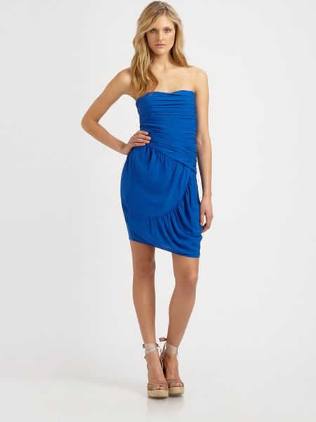 Catherine Malandrino Strapless Stretch Silk Dress in Blue (black) - Lyst