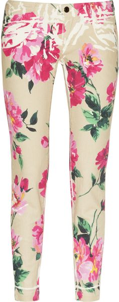 Dolce & Gabbana Peony-print Cropped Mid-rise Skinny Jeans in Brown (taupe)