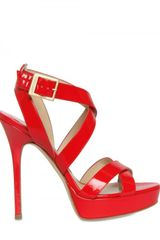 Jimmy Choo 120mm Vamp Patent Criss Cross Sandals - Lyst