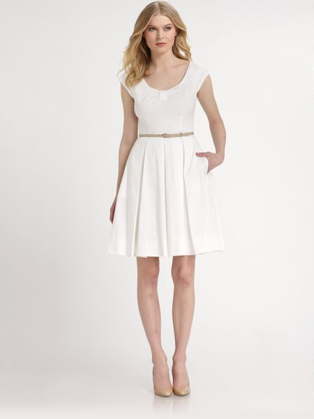 kate spade cotton sweeney belted dress in white lyst