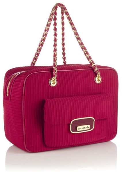 love moschino otto bowling bag in purple red lyst. Black Bedroom Furniture Sets. Home Design Ideas