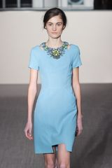 Matthew Williamson Fall 2012 Short Blue Formal Dress with Appliquéd Neckline and Hem Cutouts in Blue - Lyst