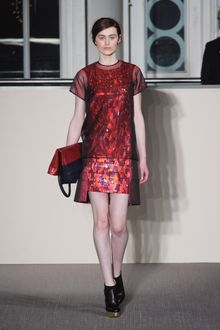 Matthew Williamson Fall 2012 Sleeveless Cocktail Dress with Cutout Hem and Multicoloured Stone Encrusted Front and Skirt  - Lyst
