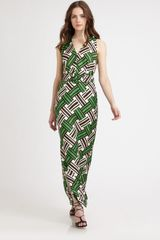 Milly Caroline Belted Dress in Green - Lyst