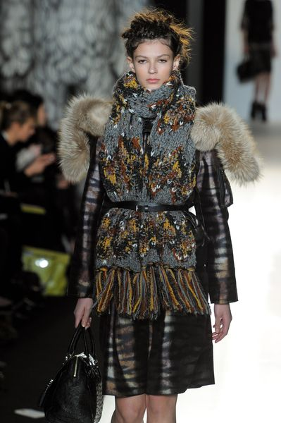 Mulberry Fall 2012 Rabbit Trimmed Hooded Coat With Sleeve Pocket And Tiger Print In Dark Grey in Gray - Lyst