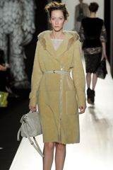 Mulberry Fall 2012 Long Shearling Coat With Patch Pockets, Front Zip Closure And Rabbit Fur Trimmed Hood In Beige - Lyst