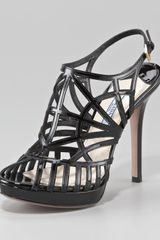 Prada Caged Patent Leather Slingback Pump - Lyst