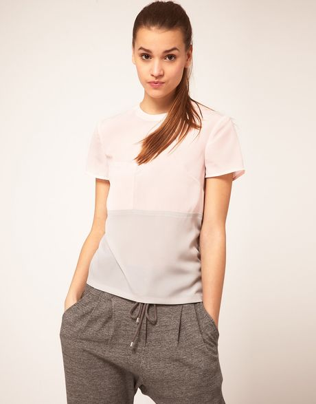 Asos Woven T Shirt With Colour Blocking in Pink (multi) - Lyst