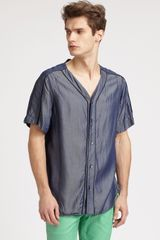 Richard Chai Washed Denim Baseball Shirt in Blue for Men (indigo) - Lyst