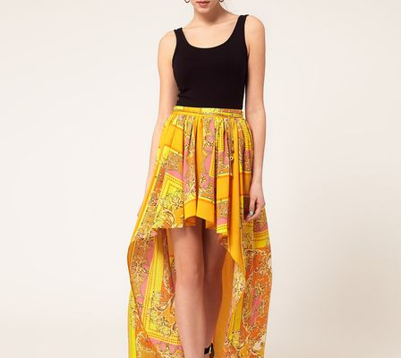 River Island Scarf Print Dipped Hem Skirt