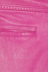 Roberto Cavalli Lowrise Skinny Leather Pants in Purple (magenta) - Lyst