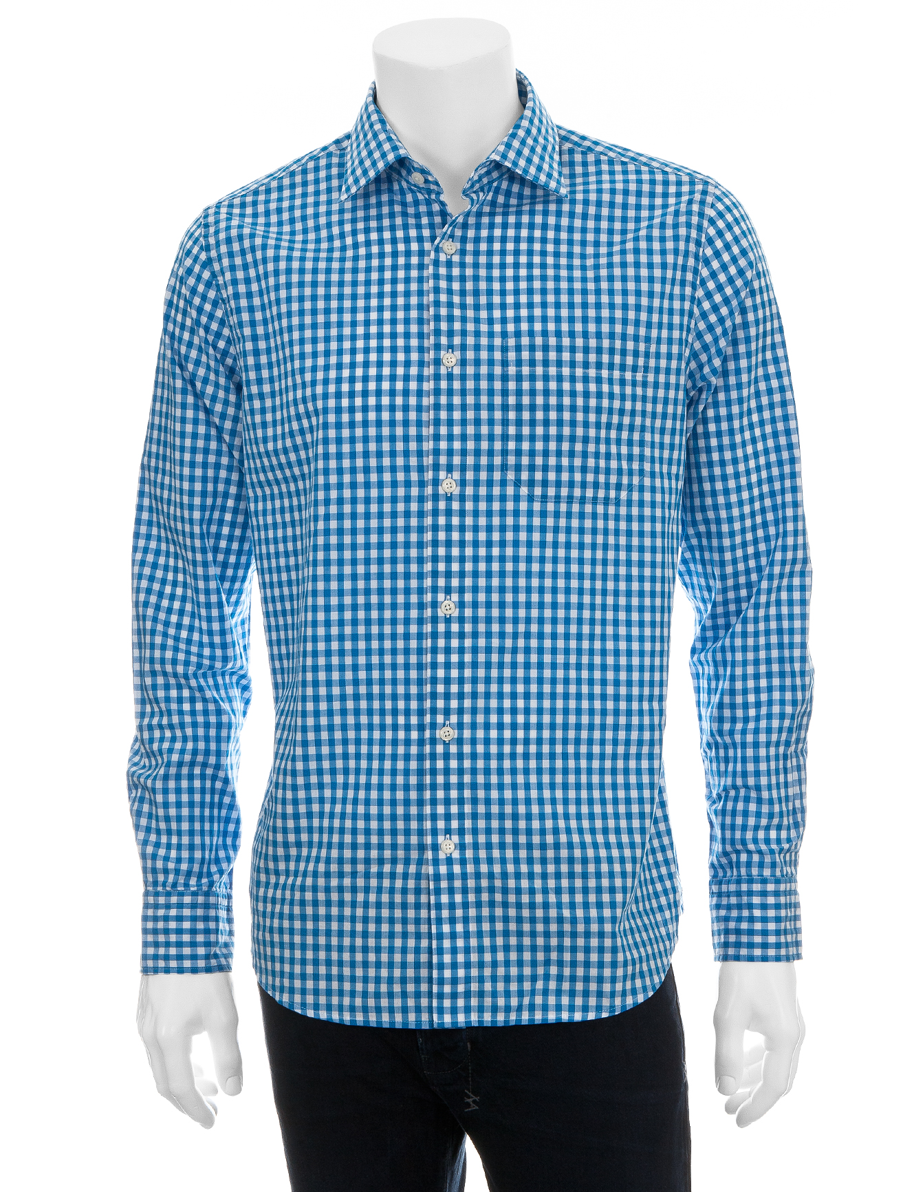 Scp gingham shirt turquoise in blue for men turquoise for Mens blue gingham shirt