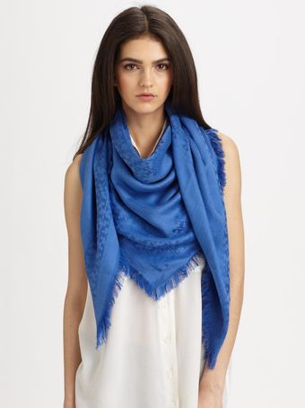 Tory Burch Tonal All-over Logo Pattern Scarf - Lyst
