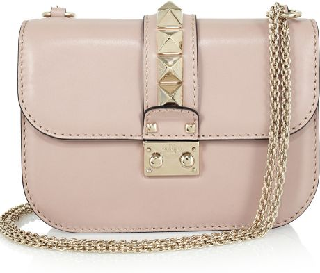 Valentino Studembellished Leather Shoulder Bag in Pink (blush) - Lyst