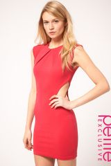 Asos Collection Asos Petite Exclusive Dress with Cut Out Sides and Pleat Neck Detail in Red (rasberry) - Lyst
