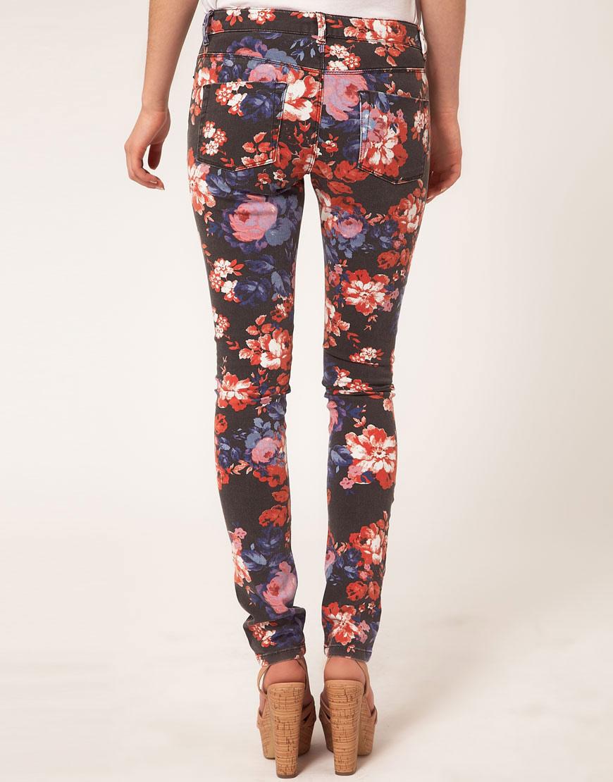 Lyst - ASOS Asos Skinny Jeans in Floral Print