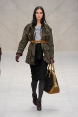 Burberry Prorsum Fall 2012 Long Army Green Parka Jacket  - Lyst