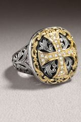 Konstantino Diamond Cross Ring - Lyst