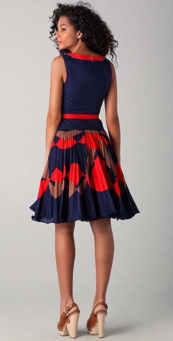 Milly Chrystine Sunburst Dress In Blue Lyst