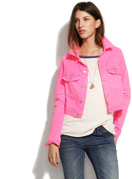 Textile Elizabeth And James Textile Elizabeth & James® Sid Denim Jacket in Pink (shocking pink) - Lyst