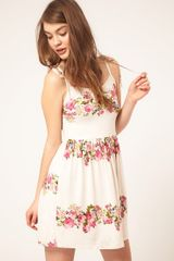 Asos Summer Dress In Rose Print in Beige (cream) - Lyst