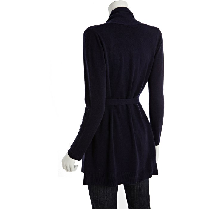 Autumn cashmere Dark Navy Cashmere Wrap Front Belted Cardigan in ...