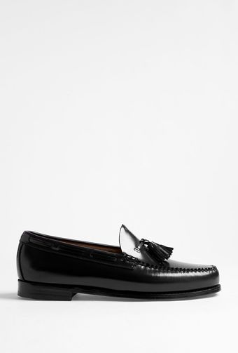 Bass Weejuns Black Leather Larkin Tassel Loafers - Lyst