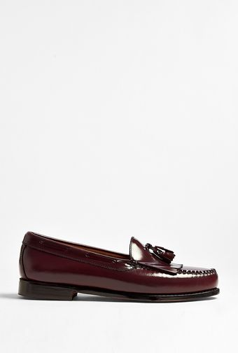 Bass Weejuns Burgundy Leather Leyton Fringe Loafers - Lyst