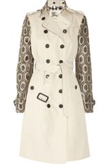 Burberry Cotton-twill and Raffia-effect Trench Coat - Lyst