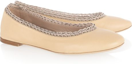 Chloé Crochet and Beadtrimmed Leather Ballet Flats in Beige (nude) - Lyst