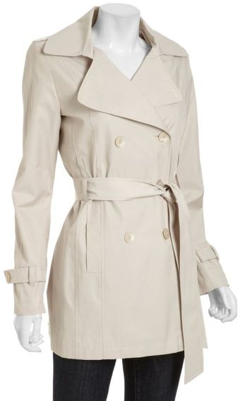 DKNY Natural Cotton Blend Rosy Notched Collar Trench Coat - Lyst