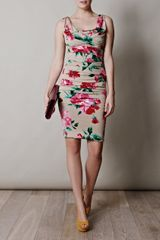 Dolce & Gabbana Peonyprint Silk Dress in Floral (beige) - Lyst