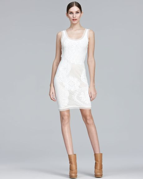 Jean Paul Gaultier Lace Tank Dress in Beige (cream) - Lyst