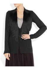 Maison Martin Margiela Fringed Crepe Jacket in Black - Lyst