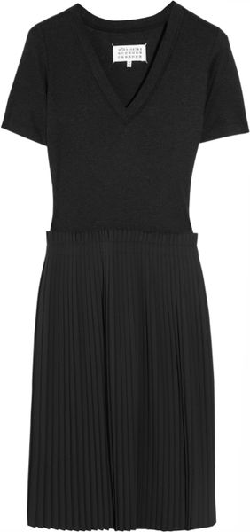 Maison Martin Margiela PleatedSkirt Jersey And CottonBlend Dress in Black - Lyst